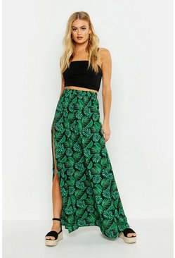 Womens Black Palm Print Floor Sweeping Side Split Maxi Skirt