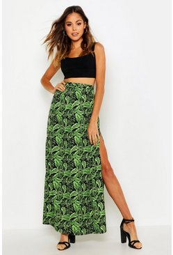 Green Palm Print Side Split Maxi Skirt