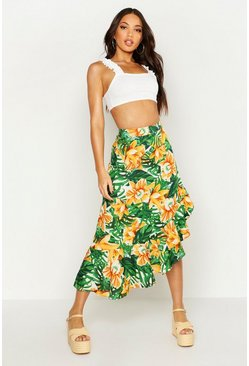 Womens Green Ruffle Side Dip Hem Tropical Print Maxi Skirt