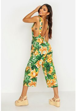 Womens Green Ruffle Open Back Tropical Print Jumpsuit