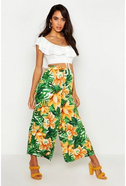 Womens Green Tropical Print Culottes