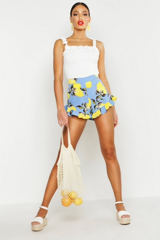 Womens Blue Lemon Print Ruffle Hem Flippy Shorts