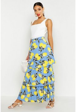 Womens Blue Lemon Print Ruffle Hem Maxi Skirt