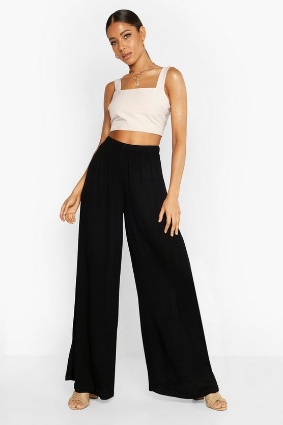 Womens Black Cheese Cloth Wide Leg Pants