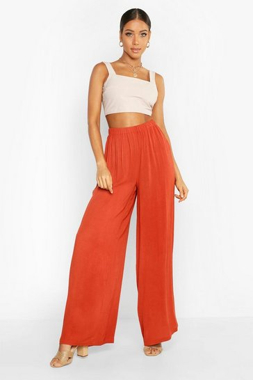 Womens Spice Cheese Cloth Wide Leg Trousers