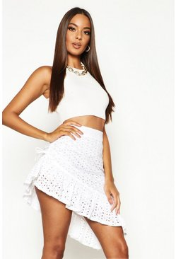 Womens Ivory Rouched Side Broderie Anglais Mini Skirt