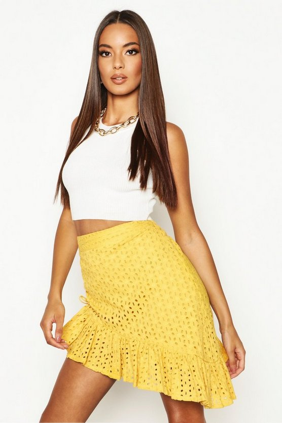 Womens Mustard Rouched Side Broderie Anglais Mini Skirt