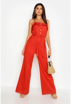 Womens Spice Linen Mix Button Front Culotte Jumpsuit