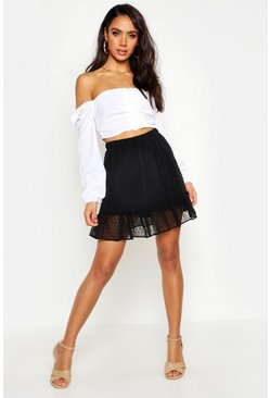 Womens Black Dobby Mesh Ruffle Hem Mini Skirt