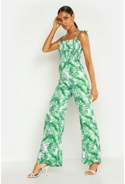 Green Shirred Tie Shoulder Palm Print Culotte Jumpsuit
