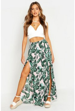 Womens Pink Palm Print Side Split Maxi Skirt