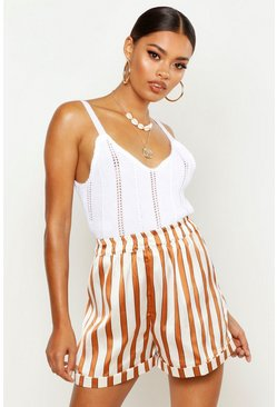 Womens Caramel Striped Satin Turn Up Shorts