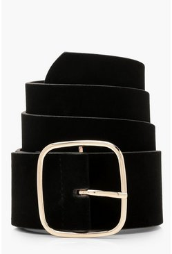 Womens Black Suedette Square Buckle Waist Belt