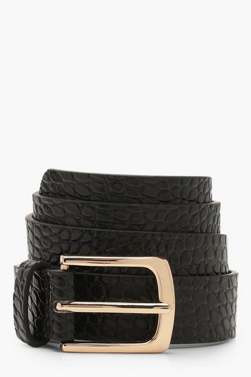 Womens Black Faux Croc Square Buckle Skinny Belt