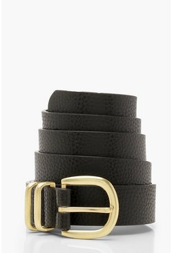 Womens Black Triple Bar Horseshoe Buckle Belt