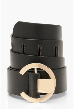 Womens Black Chunky O-Ring Buckle Belt
