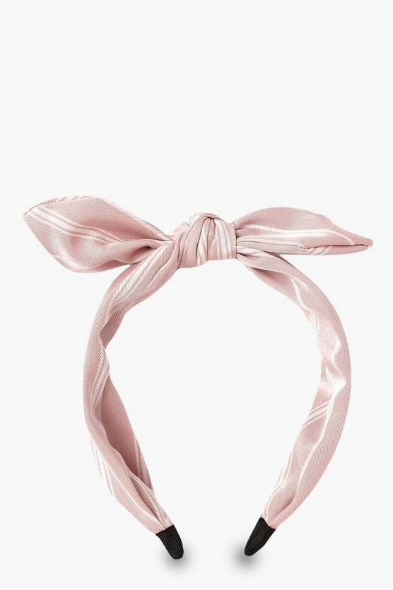 Womens Pale pink Linen Look Stripe Bow Headband