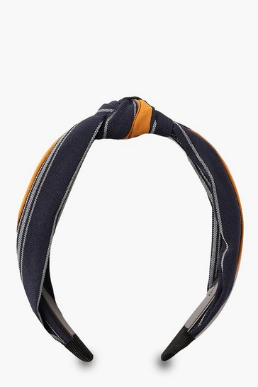 Womens Mustard Wide Stripe Twist Knot Headband