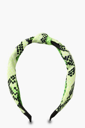 Womens Neon-lime Snake Twist Knot Headband
