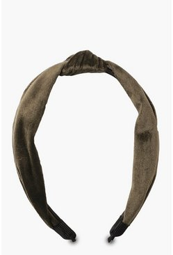 Womens Khaki Velvet Twist Knot Headband