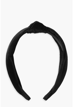 Womens Black Velvet Twist Knot Headband