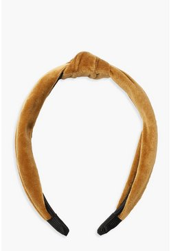 Womens Yellow Velvet Twist Knot Headband