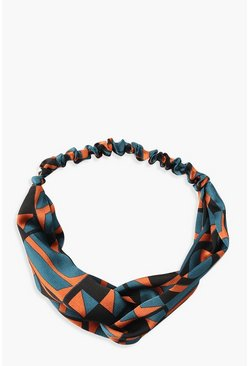 Womens Teal Geo Print Twist Knot Headband