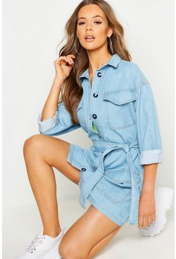 Womens Light blue Belted Rigid Denim Oversized Dress