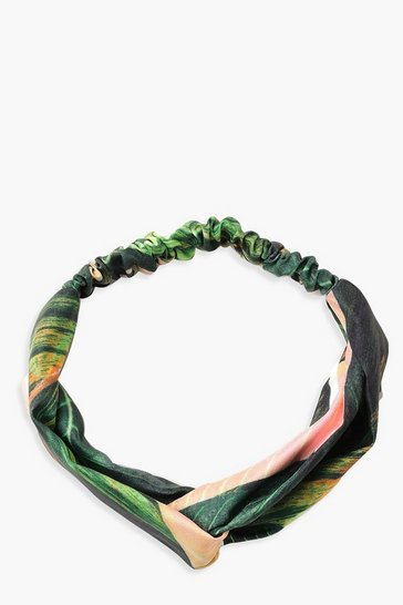 Womens Green Palm Print Twist Knot Headband
