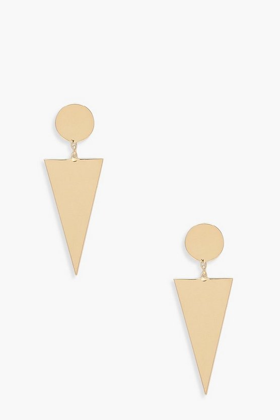 Womens Gold Triangle Drop Circle Stud Earrings