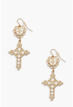 Gold Heart & Cross Drop Statement Earrings
