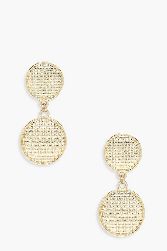 Womens Gold Textured Double Circle Earrings