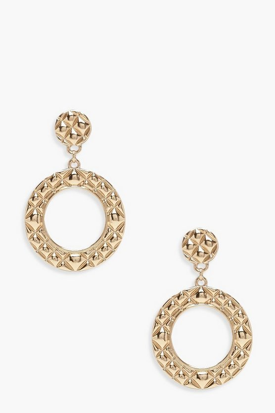 Womens Gold Quilted Effect Double Circle Earrings
