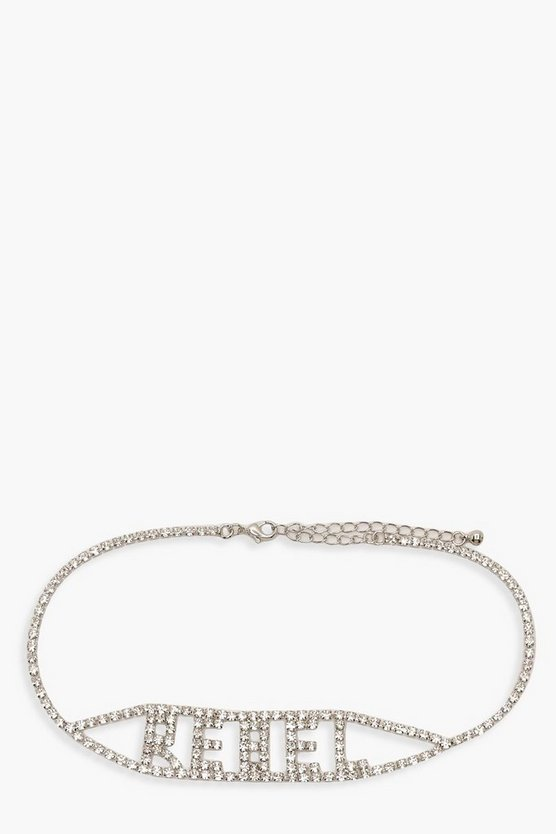 Womens Silver REBEL Diamante Statement Choker