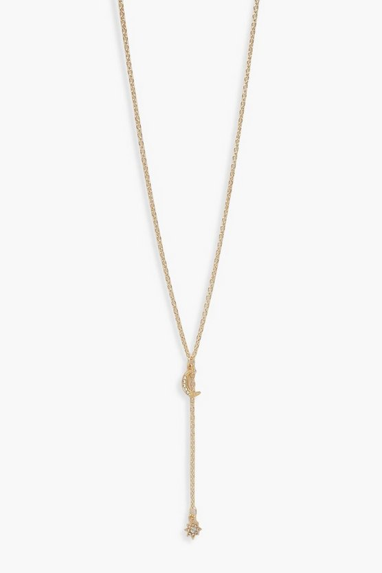 Womens Gold Diamante Moon & Star Plunge Necklace