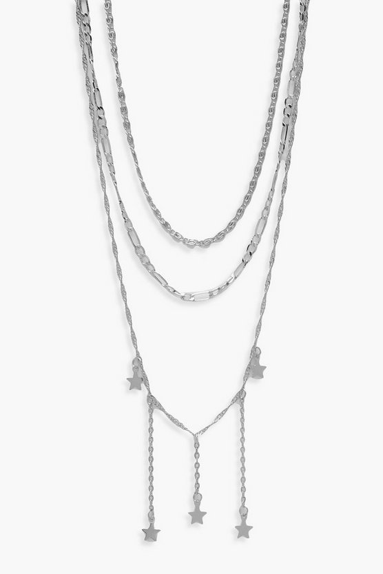 Womens Silver Star Drop Layered Necklace