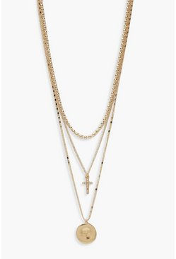 Womens Gold Delicate Cross & Medallion Layered Necklace