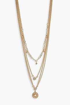 Coin & Star Delicate Multi Layered Necklace