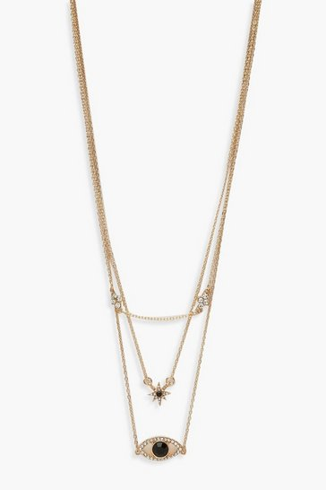 Womens Gold Eye & Star Diamante Delicate Layered Necklace