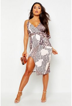 Brown Mixed Leopard Assymetric Midi Dress