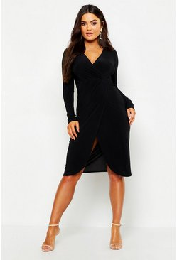 Black Slinky Wrap Front Midi Dress