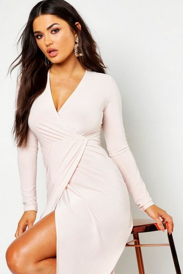 Womens Nude Slinky Wrap Front Midi Dress