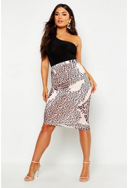 Womens Brown Slinky Mixed Leopard Print Wrap Mini Skirt