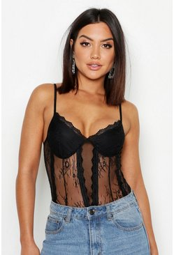 Womens Black Premium Cupped Lace Bodysuit