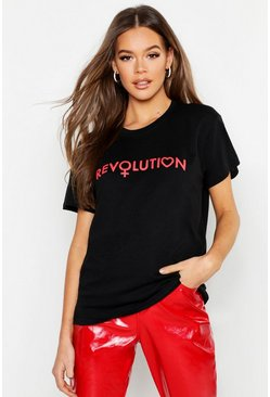 Black Revolution Slogan T-Shirt