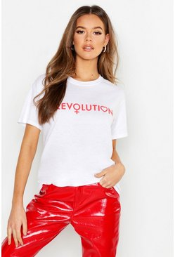 Womens White Revolution Slogan T-Shirt