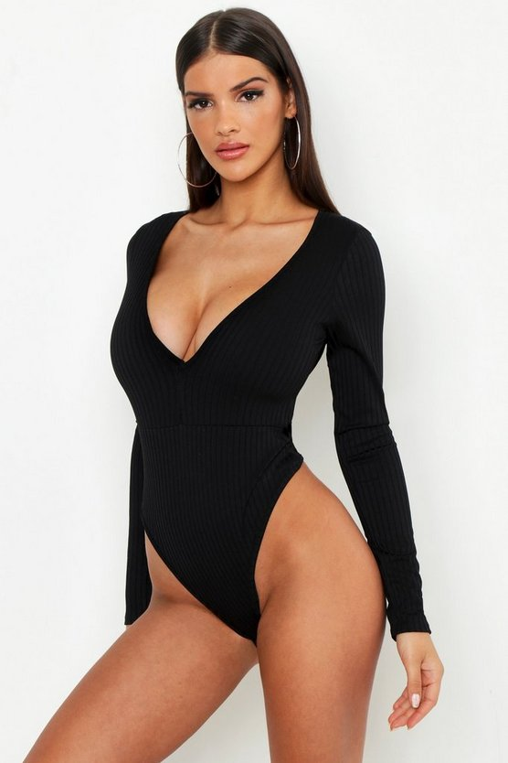 Black Jumbo Rib Plunge Front Long Sleeve Bodysuit