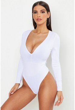 Womens White Jumbo Rib Plunge Front Long Sleeve Bodysuit