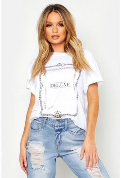 Womens White Foil Print Chain Deluxe Slogan T-Shirt