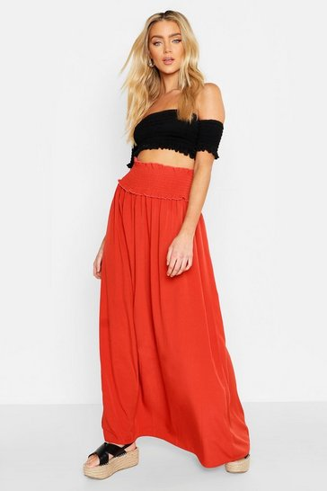 Womens Terracotta Shirred Waist Side Split Maxi Skirt